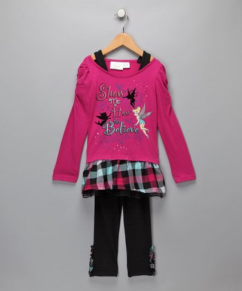 Magenta Tinker Bell Ruffle Tunic & Leggings - Girls