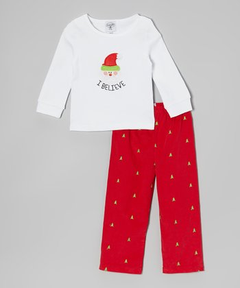 White 'I Believe' Santa Tee & Red Pants - Toddler