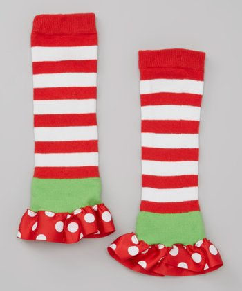 Red Stripe & Polka Dot Ruffle Leg Warmers