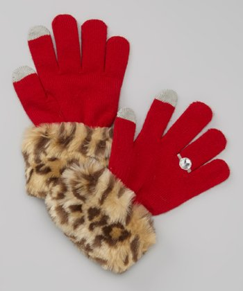 Red Cheetah Faux Fur Texting Gloves