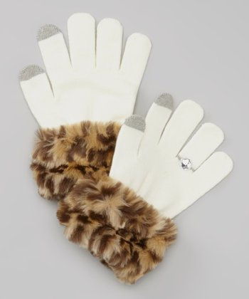 White Cheetah Faux Fur Texting Gloves
