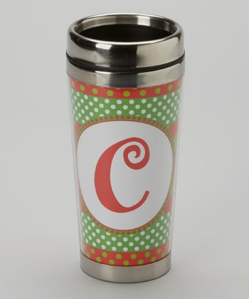 Green Polka Dot & Red 'C' Tumbler