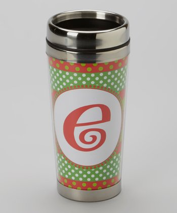 Green Polka Dot & Red 'E' Tumbler