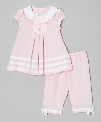 Pink & White Sailor Dress & Capri Pants - Infant & Toddler