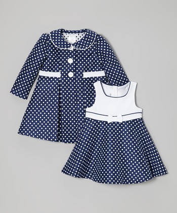 Navy Polka Dot Dress & Coat - Infant, Toddler & Girls