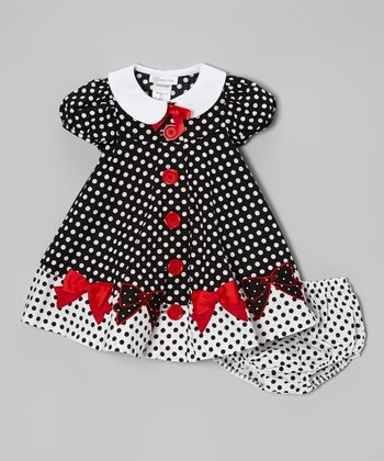 Black & White Polka Dot Bow Dress & Diaper Cover - Toddler