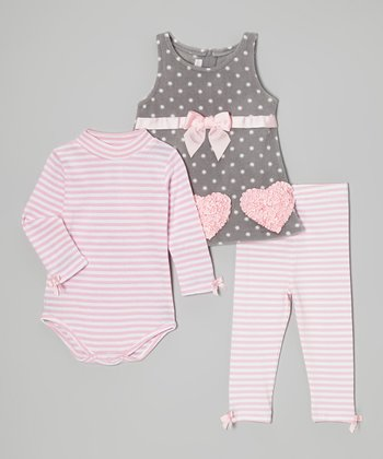 Pink & Gray Heart Dress Set - Infant & Toddler