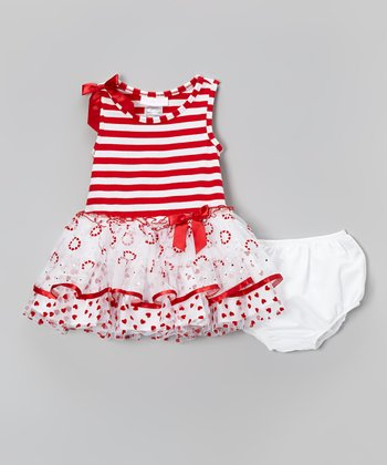 Red & White Tulle Dress & White Diaper Cover - Infant