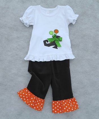 White Boot Ruffle Top & Ruffle Pants - Toddler