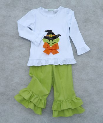 White Frog Ruffle Long Sleeve Top & Ruffle Pants - Toddler