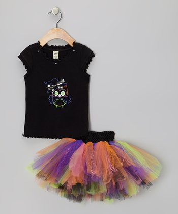 Black, Purple & Green Halloween Owl Tee & Tutu - Infant