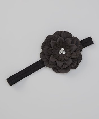 Black Flower Stretch Headband
