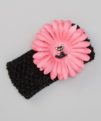 Black Peony Kitty Crocheted Headband