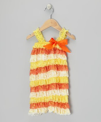Candy Corn Stripe Lace Ruffle Romper - Infant & Toddler
