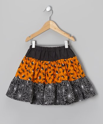 Black & Orange Spider Skirt - Infant, Toddler & Girls
