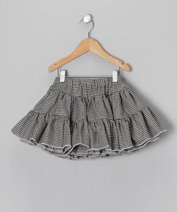 Black & White Gingham Swing Skirt - Infant, Toddler & Girls