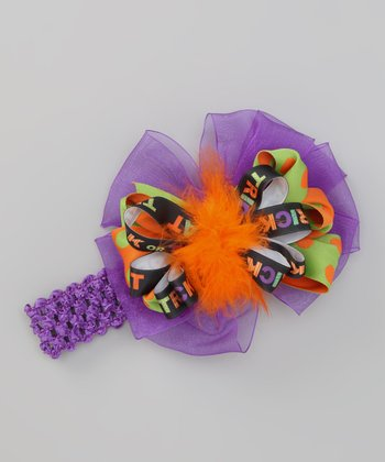 Purple & Orange 'Trick or Treat' Crocheted Headband