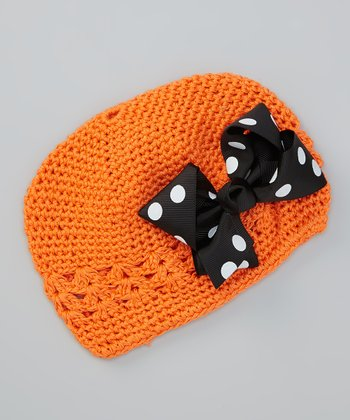 Orange Crocheted Beanie & Black Polka Dot Clip