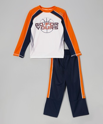 Dress Blue Motivate Top & Track Pants - Boys
