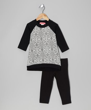 Black & Ivory Arabesque Hi-Low Tunic & Leggings - Toddler