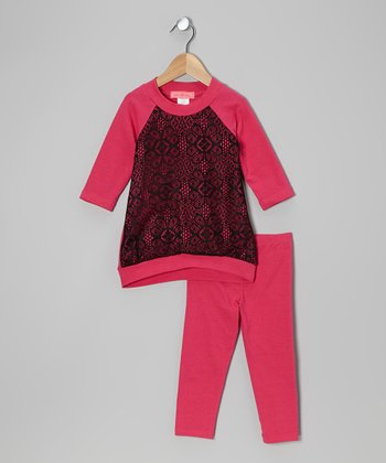 Fuchsia & Black Arabesque Hi-Low Tunic & Leggings - Toddler & Girls