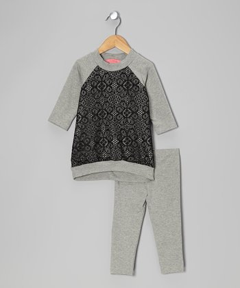 Gray & Black Arabesque Hi-Low Tunic & Leggings - Toddler & Girls