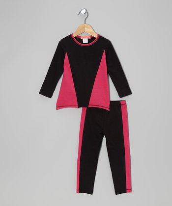 Black & Fuchsia Color Block Tunic & Leggings - Toddler & Girls