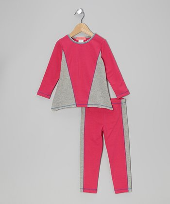 Fuchsia & Gray Color Block Tunic & Leggings - Toddler & Girls