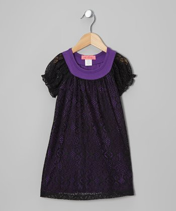 Purple Arabesque Lace Short-Sleeve Dress - Toddler & Girls