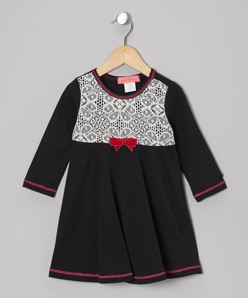 Black Arabesque Lace Long-Sleeve Dress - Toddler & Girls