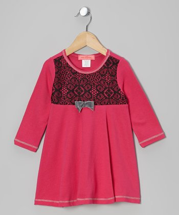 Fuchsia Arabesque Lace Long-Sleeve Dress - Toddler & Girls