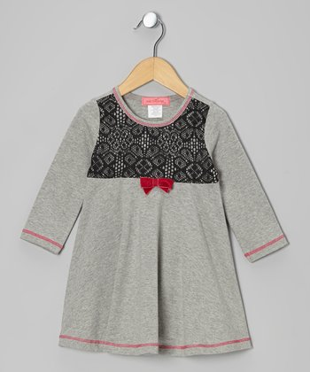 Gray Arabesque Lace Long-Sleeve Dress - Toddler & Girls