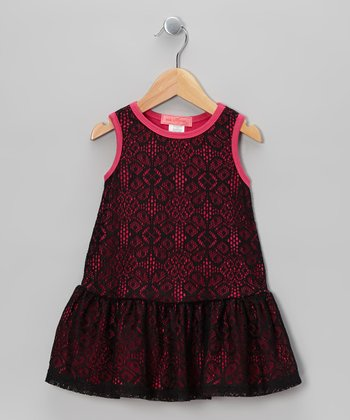 Fuchsia & Black Arabesque Lace Dress - Toddler & Girls