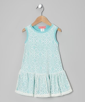 Blue & Ivory Arabesque Lace Dress - Toddler & Girls