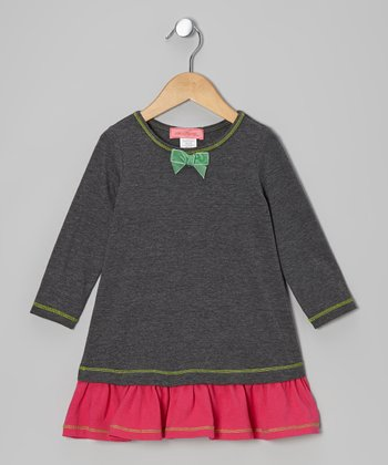 Gray Ruffle Bow Drop-Waist Dress - Toddler & Girls