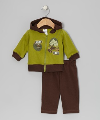 Baby Essentials Green & Brown 'Boot Camp' Zip-Up Hoodie & Pants - Infant