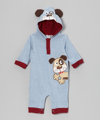 Blue & Red Plaid Dog Hooded Romper