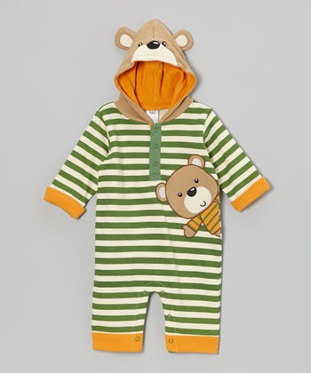 Baby Essentials Green Stripe Bear Hooded Playsuit - Infant