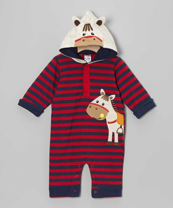 Navy & Red Stripe Pony Hooded Playsuit