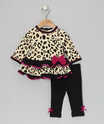 Baby Essentials Tan Leopard Ruffle Tunic & Bow Leggings - Infant