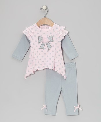 Baby Essentials Pink Polka Dot Bow Layered Tunic & Gray Leggings - Infant