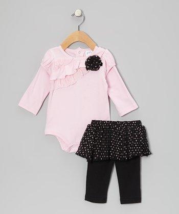 Baby Essentials Pink & Black Ruffle Bodysuit & Skirted Leggings - Infant
