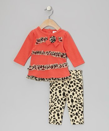 Baby Essentials Coral Leopard Ruffle Bow Tunic & Leggings - Infant