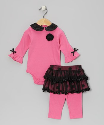 Pink Peter Pan Bodysuit & Polka Dot Skirted Leggings