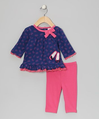 Baby Essentials Purple Ballerina Bow Ruffle Tunic & Pink Jeggings - Infant