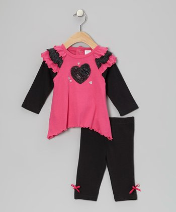Baby Essentials Pink Heart Ruffle Tunic & Black Bow Leggings - Infant