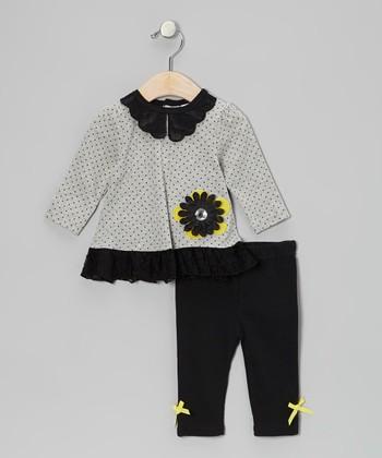Baby Essentials Gray Polka Dot Flower Tunic & Black Bow Leggings - Infant