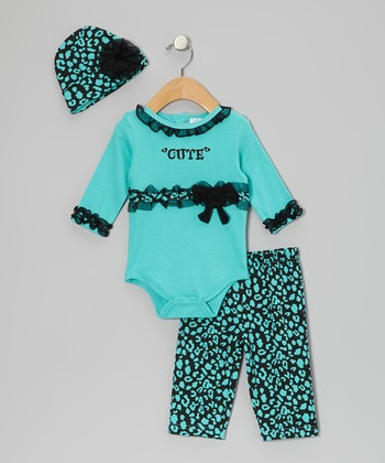 Teal 'Cute' Ruffle Bodysuit Set - Infant