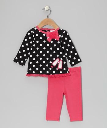 Baby Essentials Black Polka Dot Ballerina Tunic & Pink Jeggings - Infant