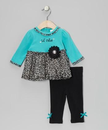 Baby Essentials Teal Leopard 'Lil' Cutie' Bubble Tunic & Bow Leggings - Infant